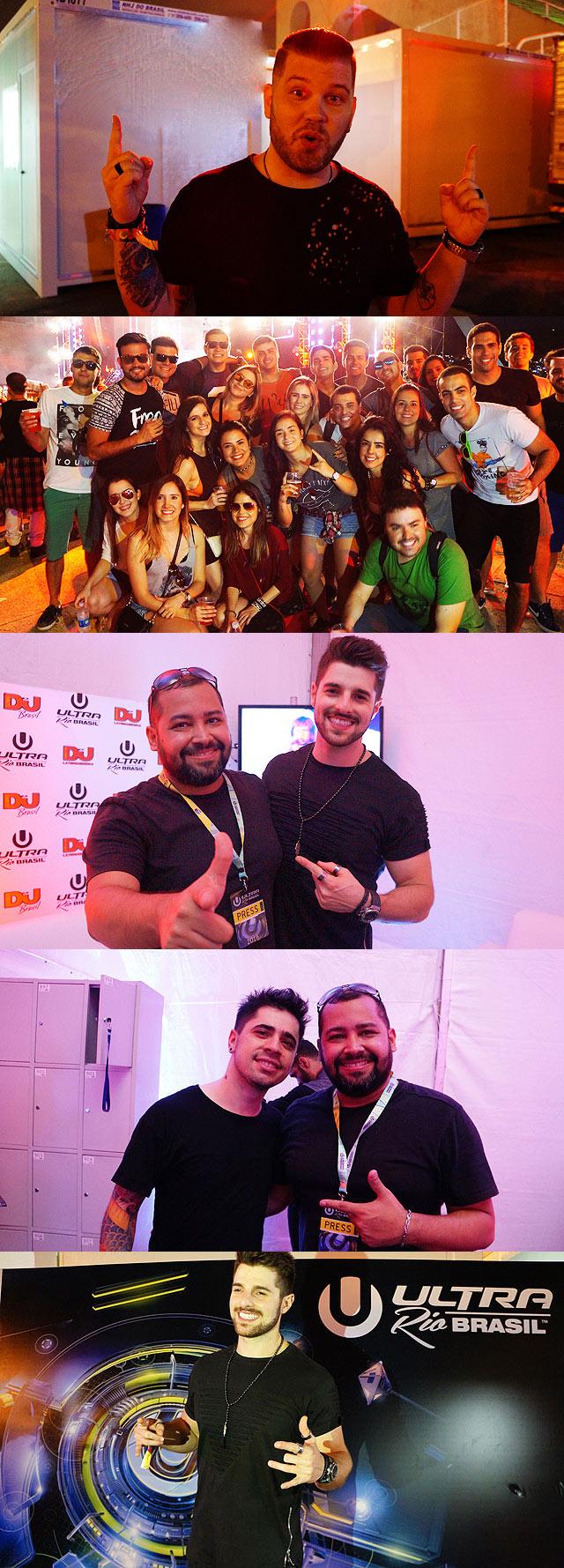 Marcelo CIC em bastidores, galera reunida no Ultra Brasil, Wander X com Alok e FTampa, Alok em banner oficial Ultra Brasil