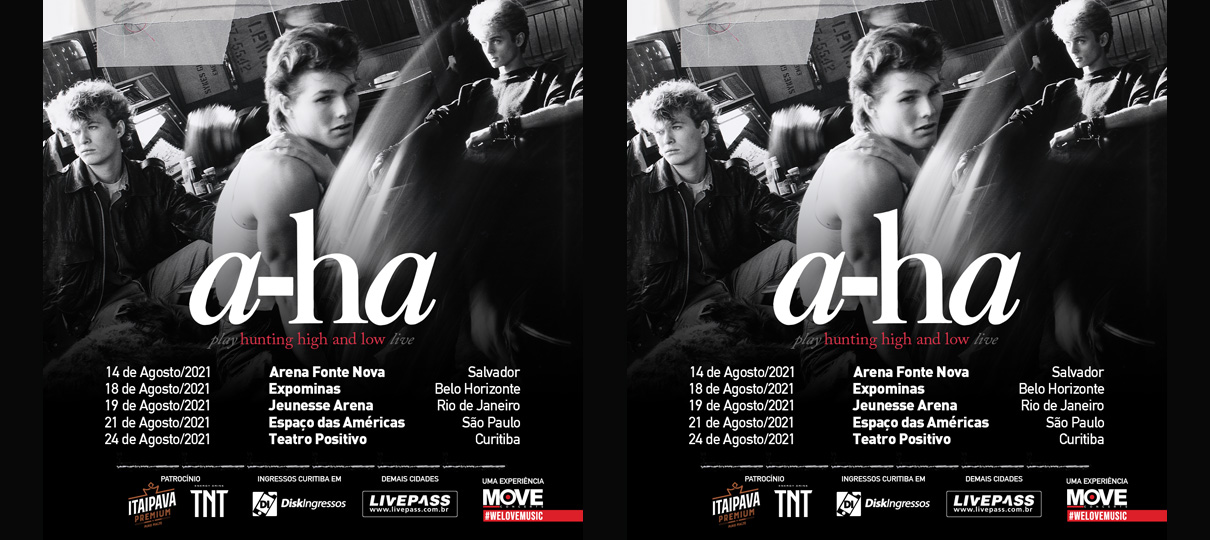 "A-HA: Turnê Mundial ""Hunting High And Low"" remarca datas no Brasil"